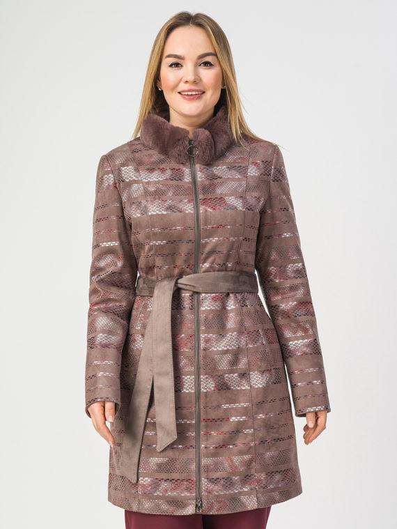 Кожаное пальто эко-замша 100% П/А, цвет светло-коричневый, арт. 01108174  - цена 7990 руб.  - магазин TOTOGROUP
