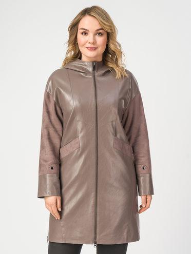 Кожаное пальто эко-кожа 100% П/А, цвет светло-коричневый, арт. 01108202  - цена 5590 руб.  - магазин TOTOGROUP