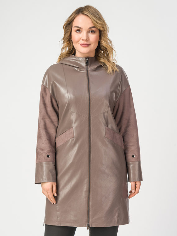Кожаное пальто эко-кожа 100% П/А, цвет светло-коричневый, арт. 01108202  - цена 3990 руб.  - магазин TOTOGROUP