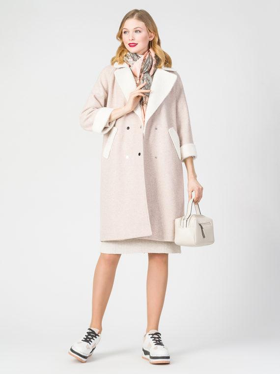 Текстильное пальто 30%шерсть, 70% п.э, цвет бежевый, арт. 01108373  - цена 4740 руб.  - магазин TOTOGROUP