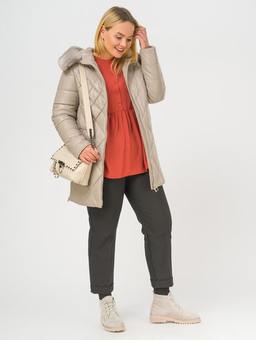 Кожаная куртка эко-кожа 100% П/А, цвет бежевый, арт. 01108848  - цена 7490 руб.  - магазин TOTOGROUP