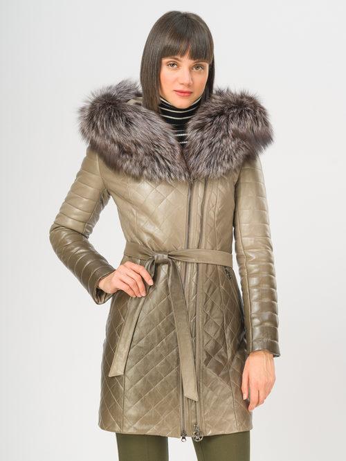 Кожаное пальто артикул 01108850/44 - фото 2
