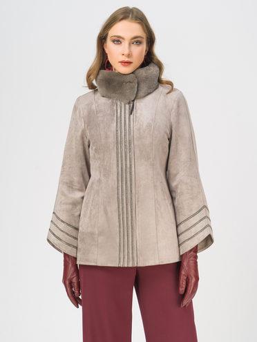 Кожаная куртка эко-замша 100% П/А, цвет бежевый, арт. 01109080  - цена 12690 руб.  - магазин TOTOGROUP