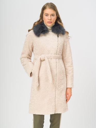 Текстильное пальто эко мех 100% П/Э, цвет бежевый, арт. 01109309  - цена 7490 руб.  - магазин TOTOGROUP