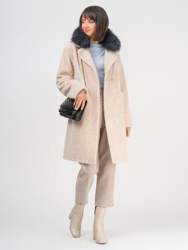 Текстильное пальто эко мех 100% П/Э, цвет бежевый, арт. 01109310  - цена 6990 руб.  - магазин TOTOGROUP