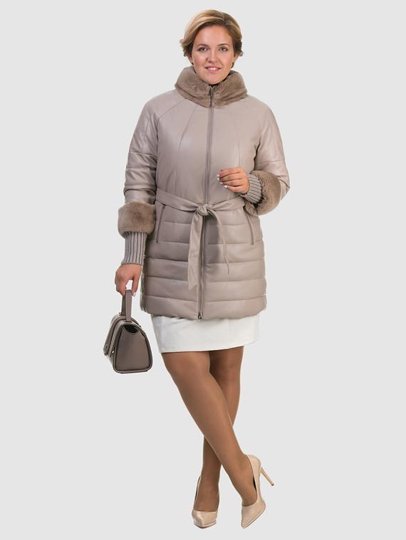 Кожаное пальто эко кожа 100% П/А, цвет бежевый, арт. 01601941  - цена 8490 руб.  - магазин TOTOGROUP