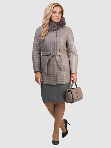 Кожаное пальто эко кожа 100% П/А, цвет бежевый, арт. 01602455  - цена 7490 руб.  - магазин TOTOGROUP