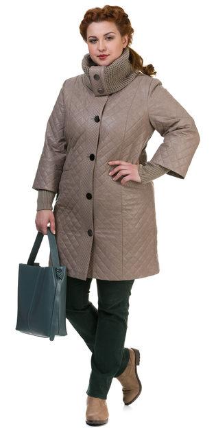 Кожаное пальто эко кожа 100% П/А, цвет бежевый, арт. 01700118  - цена 9990 руб.  - магазин TOTOGROUP