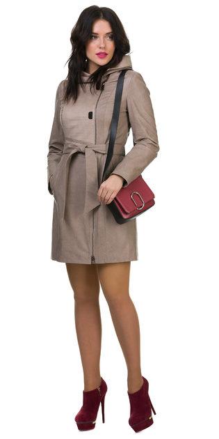 Кожаное пальто эко кожа 100% П/А, цвет бежевый, арт. 01700121  - цена 8990 руб.  - магазин TOTOGROUP