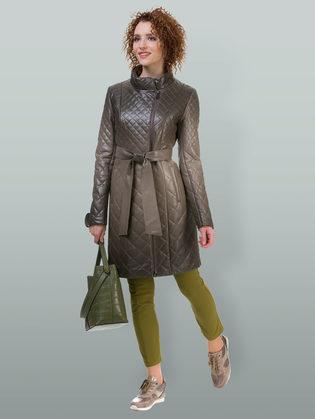 Кожаное пальто эко кожа 100% П/А, цвет бежевый, арт. 01700123  - цена 7990 руб.  - магазин TOTOGROUP