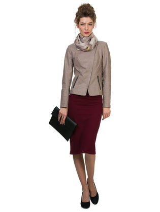 Кожаная куртка эко кожа 100% П/А, цвет бежевый, арт. 01700126  - цена 7490 руб.  - магазин TOTOGROUP