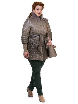 Кожаное пальто эко кожа 100% П/А, цвет бежевый, арт. 01700132  - цена 6990 руб.  - магазин TOTOGROUP