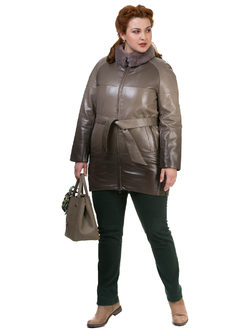Кожаное пальто эко кожа 100% П/А, цвет бежевый, арт. 01700133  - цена 8990 руб.  - магазин TOTOGROUP