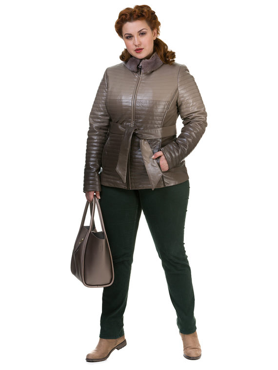 Кожаная куртка эко кожа 100% П/А, цвет бежевый, арт. 01700135  - цена 4740 руб.  - магазин TOTOGROUP