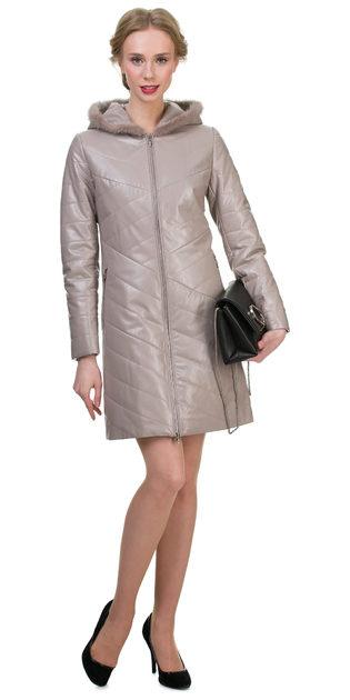Кожаное пальто эко кожа 100% П/А, цвет бежевый, арт. 01700150  - цена 9990 руб.  - магазин TOTOGROUP