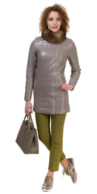 Кожаное пальто эко кожа 100% П/А, цвет бежевый, арт. 01700152  - цена 5290 руб.  - магазин TOTOGROUP
