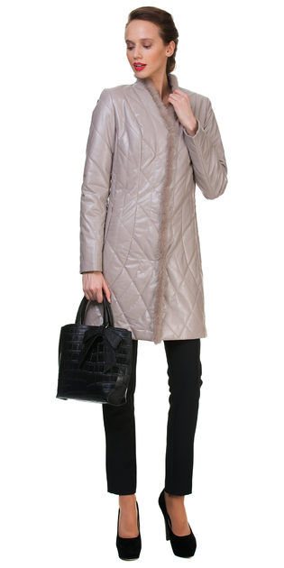 Кожаное пальто эко кожа 100% П/А, цвет бежевый, арт. 01700153  - цена 5890 руб.  - магазин TOTOGROUP