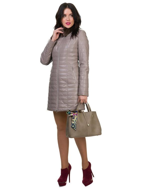 Кожаное пальто эко кожа 100% П/А, цвет бежевый, арт. 01700154  - цена 5290 руб.  - магазин TOTOGROUP