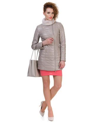 Кожаная куртка эко кожа 100% П/А, цвет бежевый, арт. 01700155  - цена 9990 руб.  - магазин TOTOGROUP