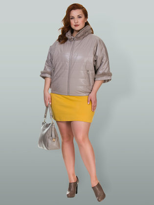 Кожаная куртка эко кожа 100% П/А, цвет бежевый, арт. 01700157  - цена 6990 руб.  - магазин TOTOGROUP
