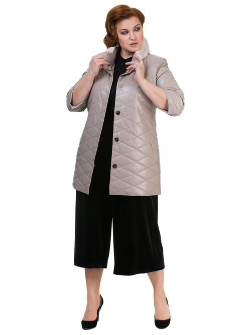 Кожаное пальто артикул 01700158/44 - фото 4