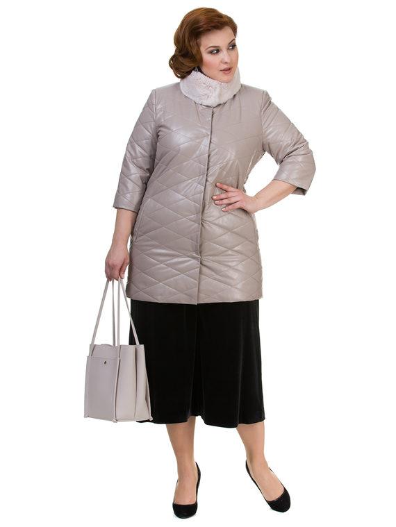 Кожаное пальто эко кожа 100% П/А, цвет бежевый, арт. 01700158  - цена 6630 руб.  - магазин TOTOGROUP