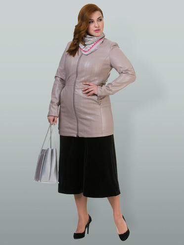 Кожаная куртка эко-кожа 100% П/А, цвет бежевый, арт. 01700161  - цена 3190 руб.  - магазин TOTOGROUP