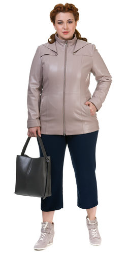 Кожаная куртка эко кожа 100% П/А, цвет бежевый, арт. 01700168  - цена 4490 руб.  - магазин TOTOGROUP