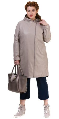 Кожаное пальто эко кожа 100% П/А, цвет бежевый, арт. 01700170  - цена 7990 руб.  - магазин TOTOGROUP