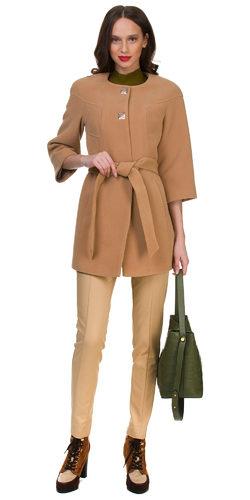 Текстильное пальто 30%шерсть, 70% п\а, цвет бежевый, арт. 01700401  - цена 2990 руб.  - магазин TOTOGROUP