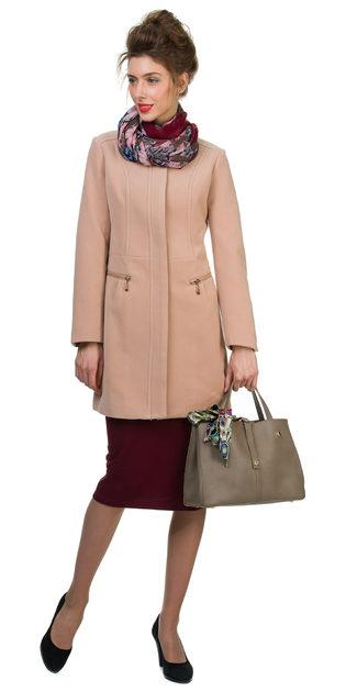 Текстильное пальто 30%шерсть, 70% п\а, цвет бежевый, арт. 01700403  - цена 3190 руб.  - магазин TOTOGROUP