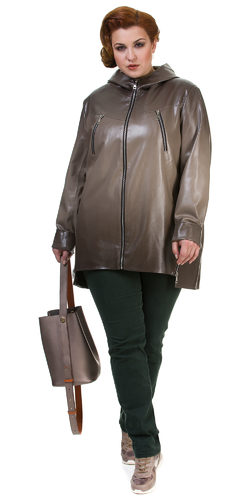 Кожаное пальто эко кожа 100% П/А, цвет бежевый, арт. 01700441  - цена 8490 руб.  - магазин TOTOGROUP