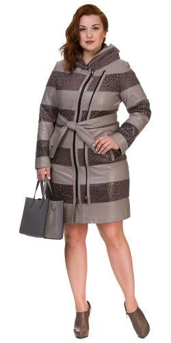 Кожаное пальто эко кожа 100% П/А, цвет бежевый, арт. 01700443  - цена 7990 руб.  - магазин TOTOGROUP