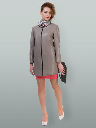 Кожаное пальто эко кожа 100% П/А, цвет бежевый, арт. 01700452  - цена 7490 руб.  - магазин TOTOGROUP