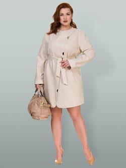 Кожаное пальто эко кожа 100% П/А, цвет бежевый, арт. 01700456  - цена 6630 руб.  - магазин TOTOGROUP