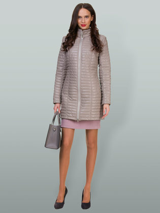 Кожаное пальто эко кожа 100% П/А, цвет бежевый, арт. 01700554  - цена 5890 руб.  - магазин TOTOGROUP