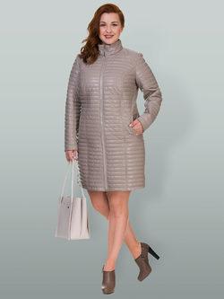 Кожаное пальто эко кожа 100% П/А, цвет бежевый, арт. 01700555  - цена 8990 руб.  - магазин TOTOGROUP