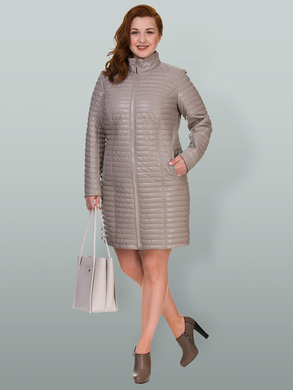 Кожаное пальто эко кожа 100% П/А, цвет бежевый, арт. 01700555  - цена 4740 руб.  - магазин TOTOGROUP
