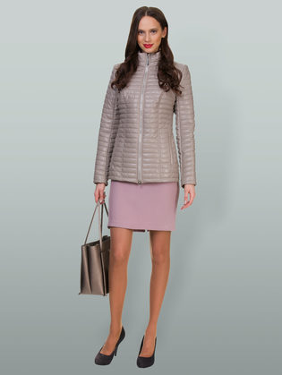 Кожаная куртка эко кожа 100% П/А, цвет бежевый, арт. 01700556  - цена 5590 руб.  - магазин TOTOGROUP