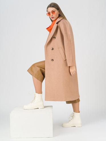 Текстильное пальто 35% шерсть, 65% полиэстер, цвет бежевый, арт. 01711395  - цена 5890 руб.  - магазин TOTOGROUP