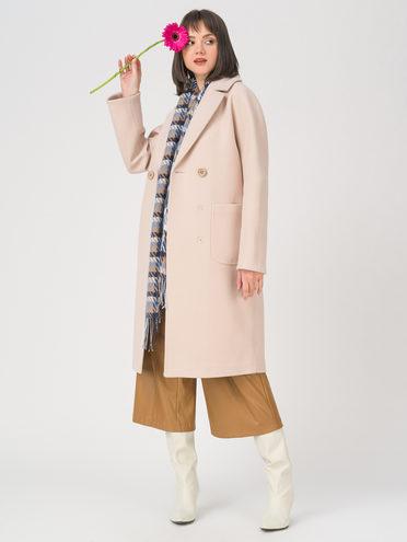 Текстильное пальто 35% шерсть, 65% полиэстер, цвет бежевый, арт. 01711410  - цена 7490 руб.  - магазин TOTOGROUP