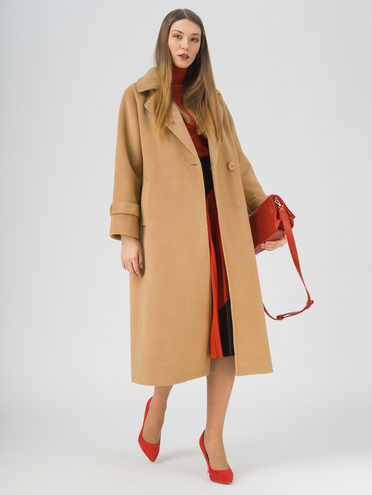 Текстильное пальто 95% лавсан, 5% вискоза, цвет бежевый, арт. 01711450  - цена 5890 руб.  - магазин TOTOGROUP