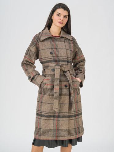 Текстильное пальто 95% лавсан, 5% вискоза, цвет бежевый, арт. 01711453  - цена 5890 руб.  - магазин TOTOGROUP