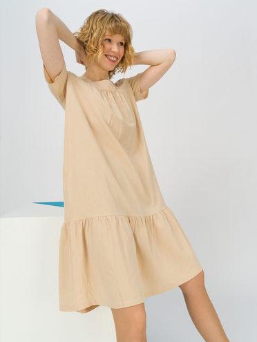 Женское платье 100% хлопок, цвет бежевый, арт. 01711688  - цена 1490 руб.  - магазин TOTOGROUP