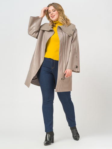 Кожаное пальто эко-кожа 100% П/А, цвет бежевый, арт. 01810025  - цена 6990 руб.  - магазин TOTOGROUP