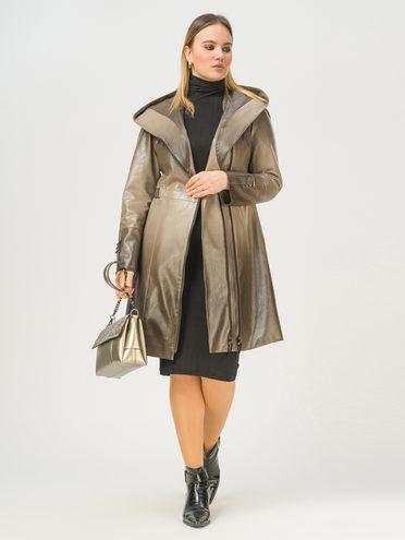 Кожаное пальто эко-кожа 100% П/А, цвет бежевый, арт. 01810027  - цена 6990 руб.  - магазин TOTOGROUP