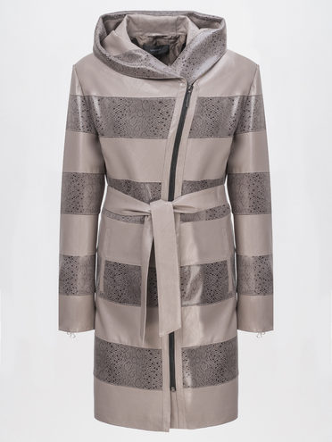 Кожаное пальто эко-кожа 100% П/А, цвет бежевый, арт. 01810200  - цена 5890 руб.  - магазин TOTOGROUP