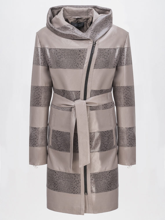 Кожаное пальто эко-кожа 100% П/А, цвет бежевый, арт. 01810200  - цена 4740 руб.  - магазин TOTOGROUP