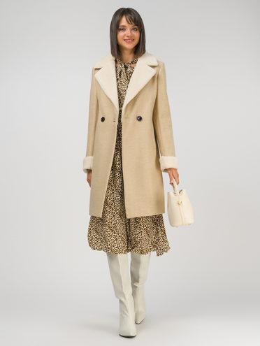 Текстильное пальто 30% шерсть, 70% п.э, цвет бежевый, арт. 01810721  - цена 8990 руб.  - магазин TOTOGROUP