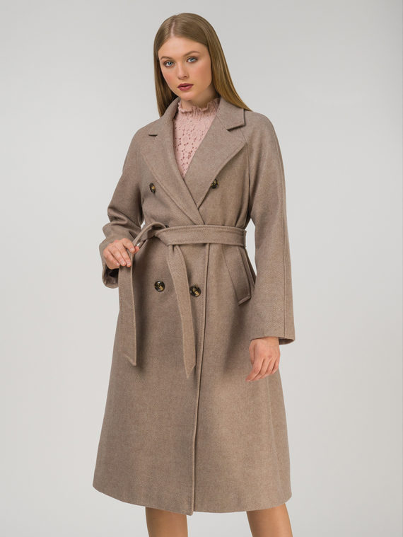 Текстильное пальто 30%шерсть, 70% п.э, цвет бежевый, арт. 01810724  - цена 7990 руб.  - магазин TOTOGROUP